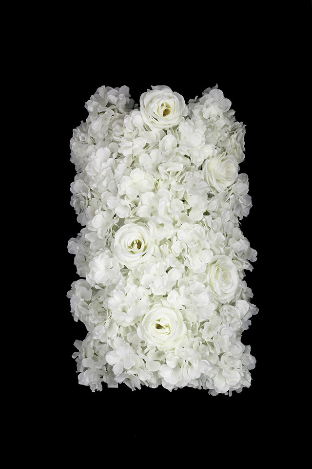 ARTIFICIAL ARTIFICIALS FLOWER FLOWERS PANEL PANELS ROSE ROSES HYDRANGEA HYDRANGEAS WALL WALLS CLADDING CLADDINGS CURVED CURVEDS WITH WITHS HEADS HEAD White white creamy bridal