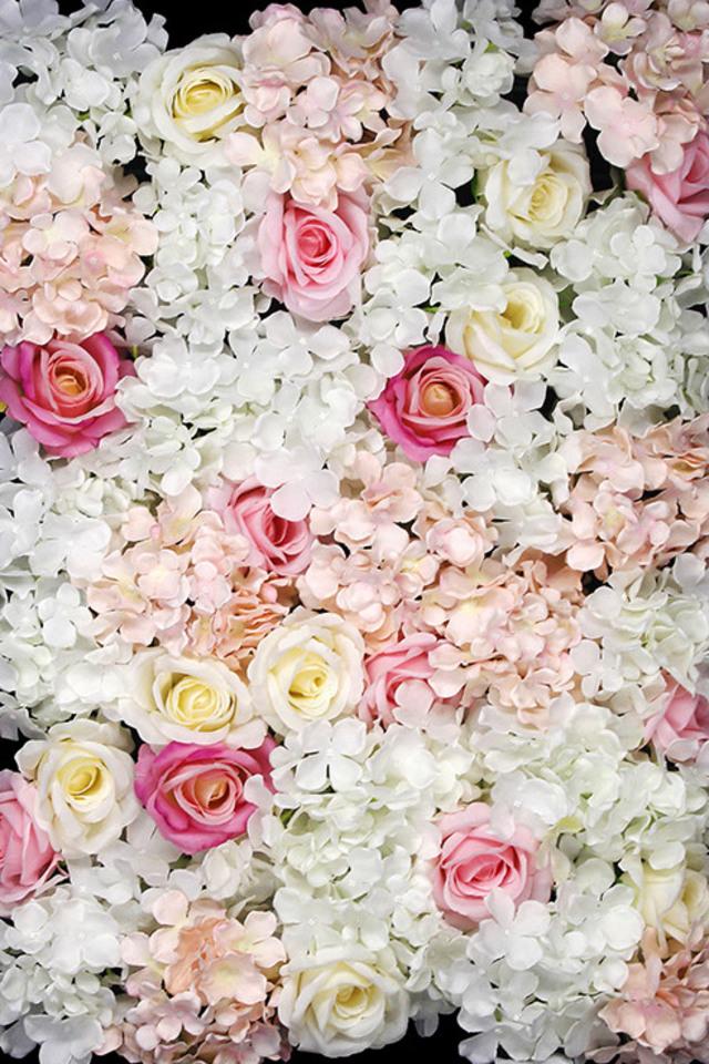 Hydrangea Rose Flower Wall Panel 44 Head 40cmh X