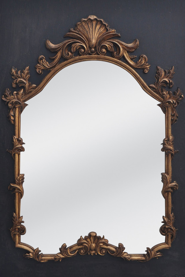 Charcoal Wall Panel W Gilt Mirror Insert Distressed Gold Finish 95 X 130cmh Holstens